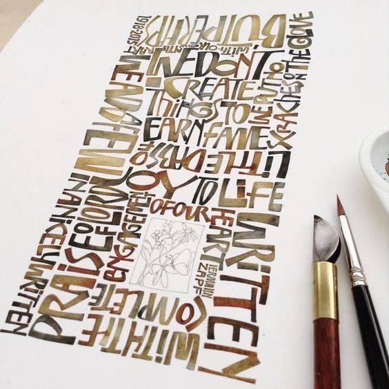 Beautiful earthtone calligraphy ink quote
