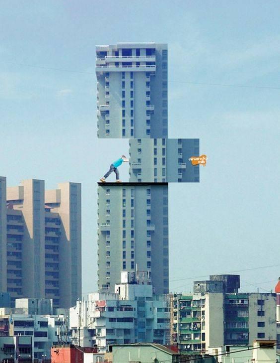 Optical illusion billboard on a skyscraper