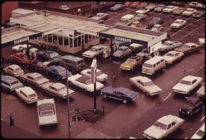 Scene of cars waiting for gas during 1973 OPEC oil embargo