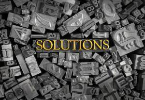 solutions printed in gold ink