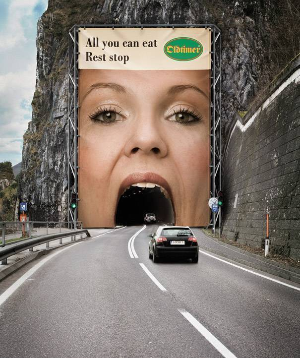 Big mouth billboard on a mountain