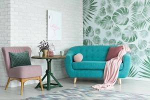 Home interior design wallpaper printed with wide-format technology