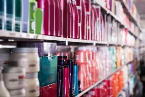 cosmetics and beauty products on store shelves