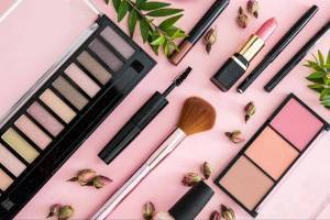 Assortment of cosmetics and beauty products
